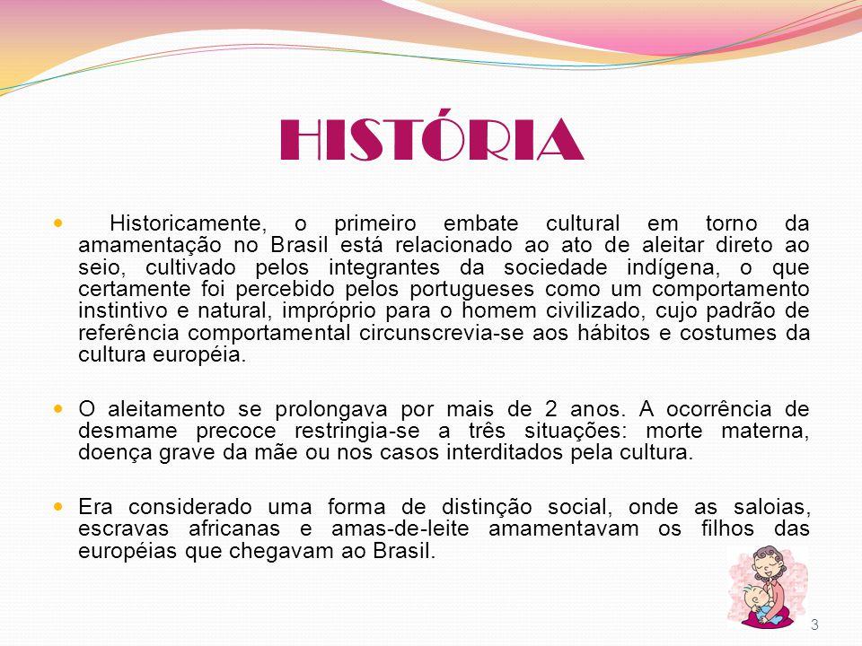 HISTÓRIA Historicamente, o primeiro embate cultural em torno da amamentação no Brasil está relacionado ao ato de aleitar direto ao seio, cultivado pel