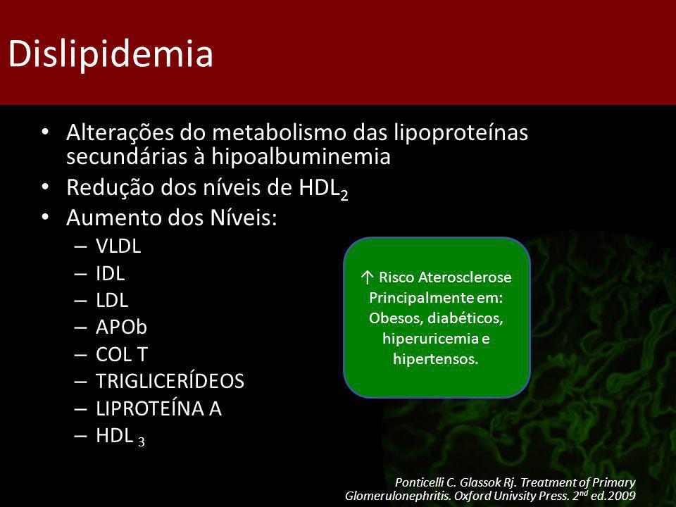 Dislipidemia Alterações do metabolismo das lipoproteínas secundárias à hipoalbuminemia Redução dos níveis de HDL 2 Aumento dos Níveis: – VLDL – IDL –
