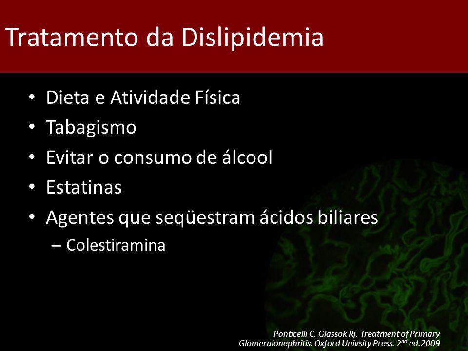 Tratamento da Dislipidemia Dieta e Atividade Física Tabagismo Evitar o consumo de álcool Estatinas Agentes que seqüestram ácidos biliares – Colestiram
