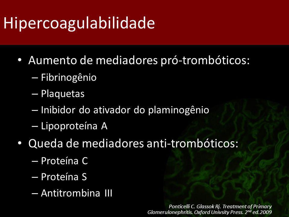 Hipercoagulabilidade Aumento de mediadores pró-trombóticos: – Fibrinogênio – Plaquetas – Inibidor do ativador do plaminogênio – Lipoproteína A Queda d