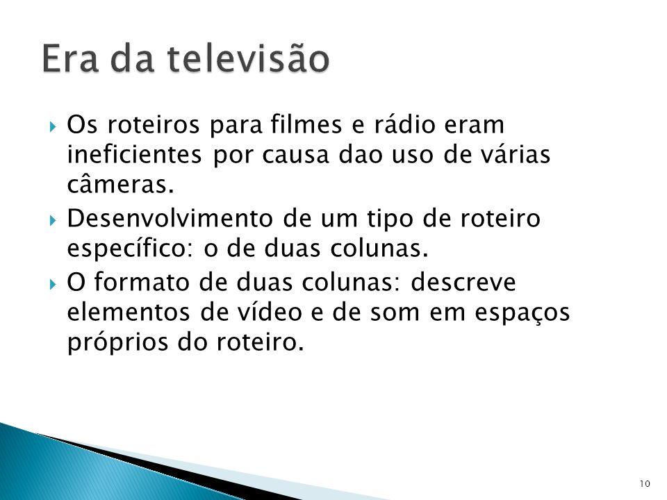 Os roteiros para filmes e rádio eram ineficientes por causa dao uso de várias câmeras. Desenvolvimento de um tipo de roteiro específico: o de duas col