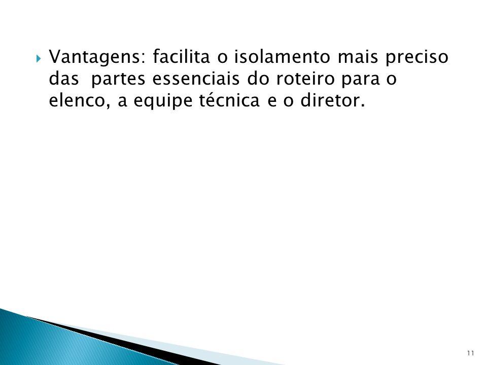 Vantagens: facilita o isolamento mais preciso das partes essenciais do roteiro para o elenco, a equipe técnica e o diretor. 11