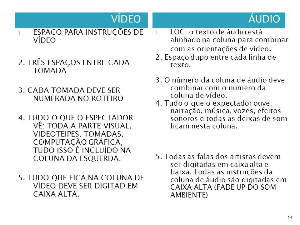 VÍDEOÁUDIO 1. ESPAÇO PARA INSTRUÇÕES DE VÍDEO 2. TRÊS ESPAÇOS ENTRE CADA TOMADA 3. CADA TOMADA DEVE SER NUMERADA NO ROTEIRO 4. TUDO O QUE O ESPECTADOR