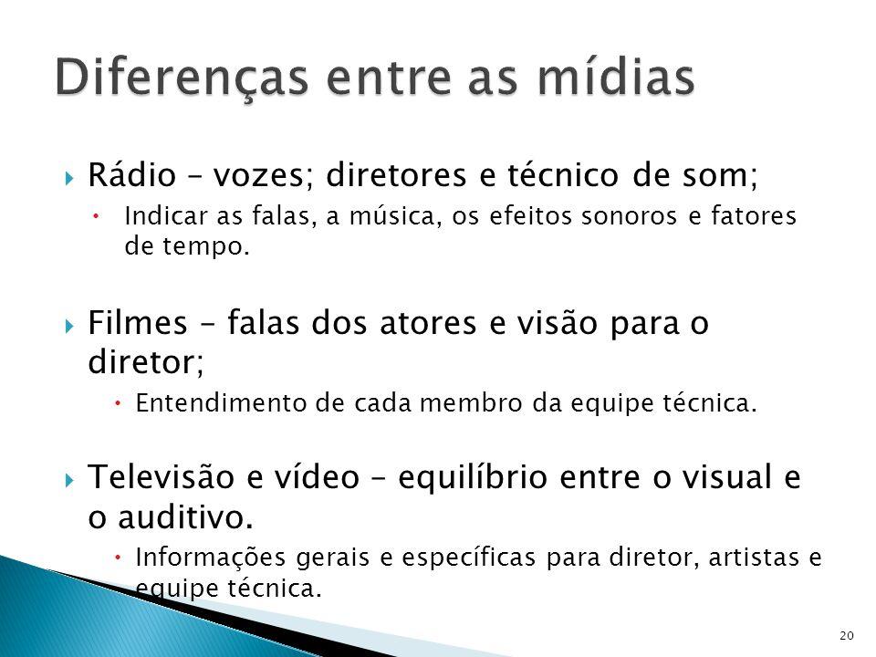 Rádio – vozes; diretores e técnico de som; Indicar as falas, a música, os efeitos sonoros e fatores de tempo. Filmes – falas dos atores e visão para o
