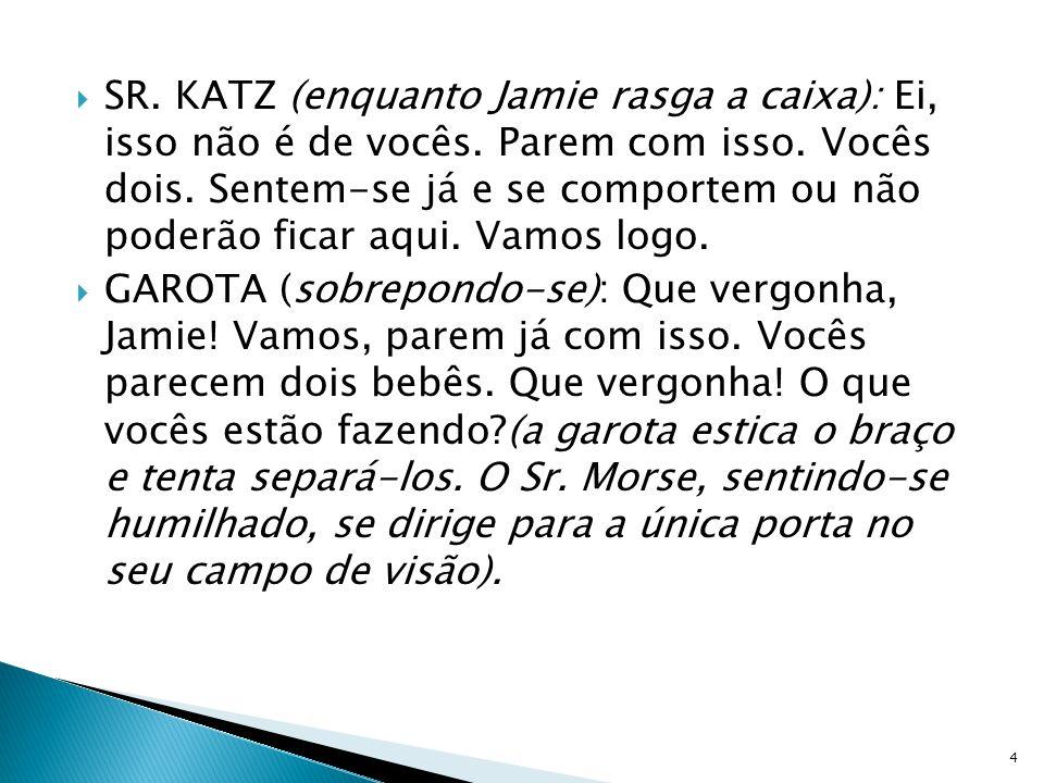 SR. KATZ (enquanto Jamie rasga a caixa): Ei, isso não é de vocês. Parem com isso. Vocês dois. Sentem-se já e se comportem ou não poderão ficar aqui. V
