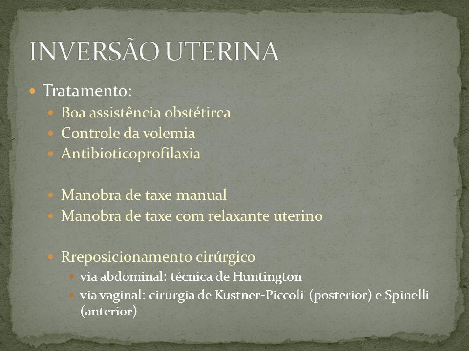 Tratamento: Boa assistência obstétirca Controle da volemia Antibioticoprofilaxia Manobra de taxe manual Manobra de taxe com relaxante uterino Rreposic