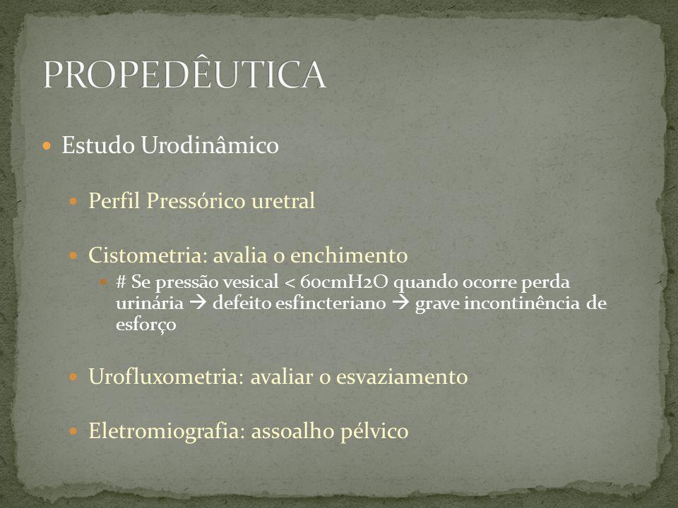 Estudo Urodinâmico Perfil Pressórico uretral Cistometria: avalia o enchimento # Se pressão vesical < 60cmH2O quando ocorre perda urinária defeito esfi