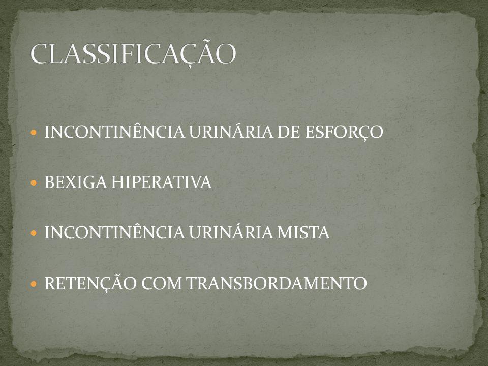 INCONTINÊNCIA URINÁRIA DE ESFORÇO BEXIGA HIPERATIVA INCONTINÊNCIA URINÁRIA MISTA RETENÇÃO COM TRANSBORDAMENTO