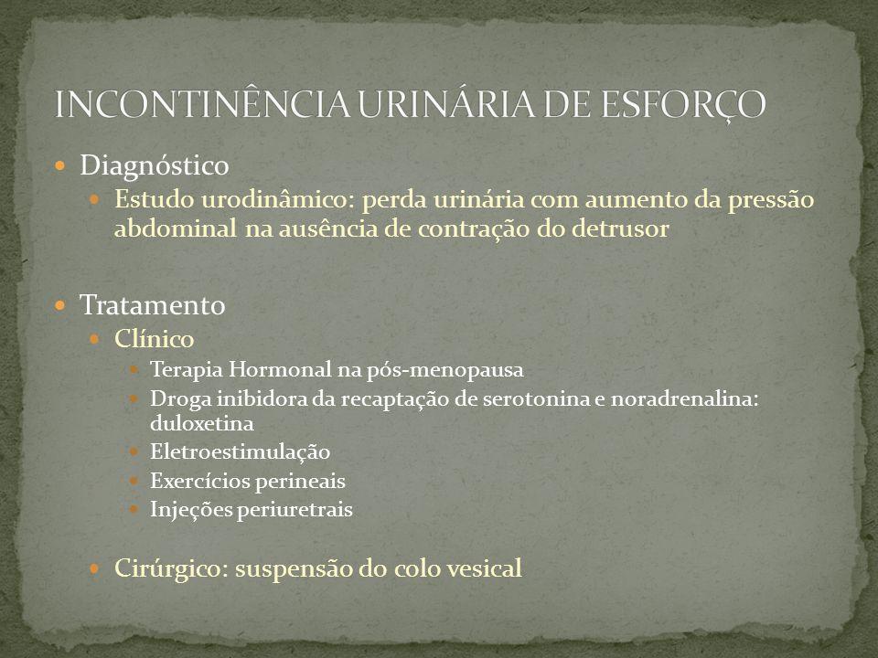 Diagnóstico Estudo urodinâmico: perda urinária com aumento da pressão abdominal na ausência de contração do detrusor Tratamento Clínico Terapia Hormon