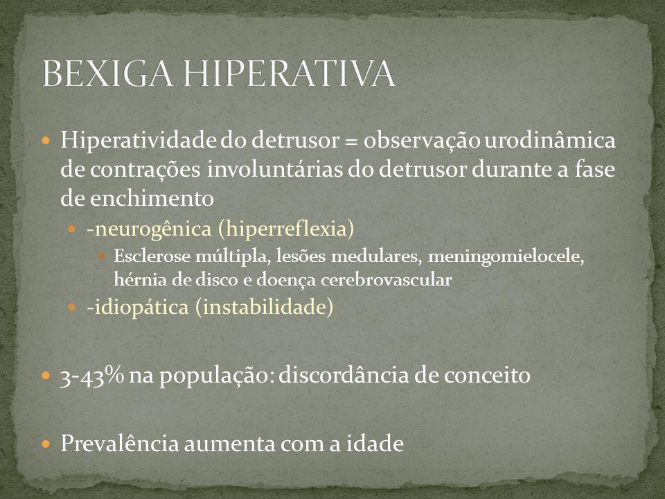 Hiperatividade do detrusor = observação urodinâmica de contrações involuntárias do detrusor durante a fase de enchimento -neurogênica (hiperreflexia)