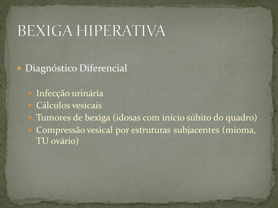 Diagnóstico Diferencial Infecção urinária Cálculos vesicais Tumores de bexiga (idosas com início súbito do quadro) Compressão vesical por estruturas s