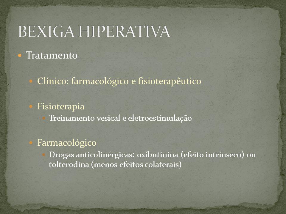 Tratamento Clínico: farmacológico e fisioterapêutico Fisioterapia Treinamento vesical e eletroestimulação Farmacológico Drogas anticolinérgicas: oxibu