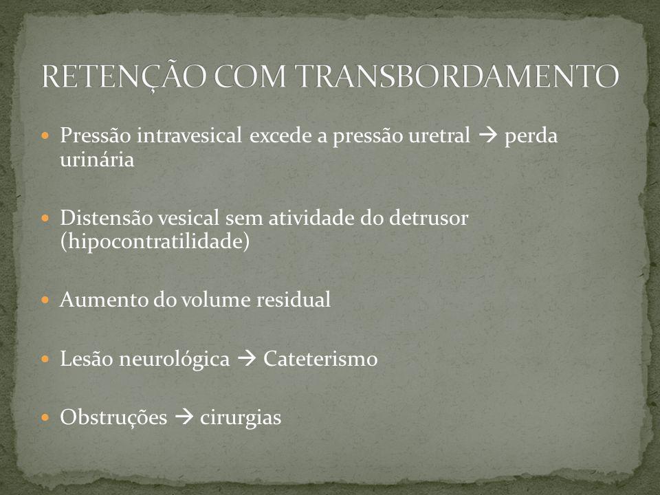 Pressão intravesical excede a pressão uretral perda urinária Distensão vesical sem atividade do detrusor (hipocontratilidade) Aumento do volume residu