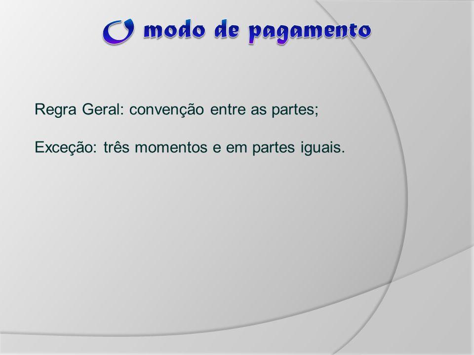 Regra Geral: convenção entre as partes; Exceção: três momentos e em partes iguais.