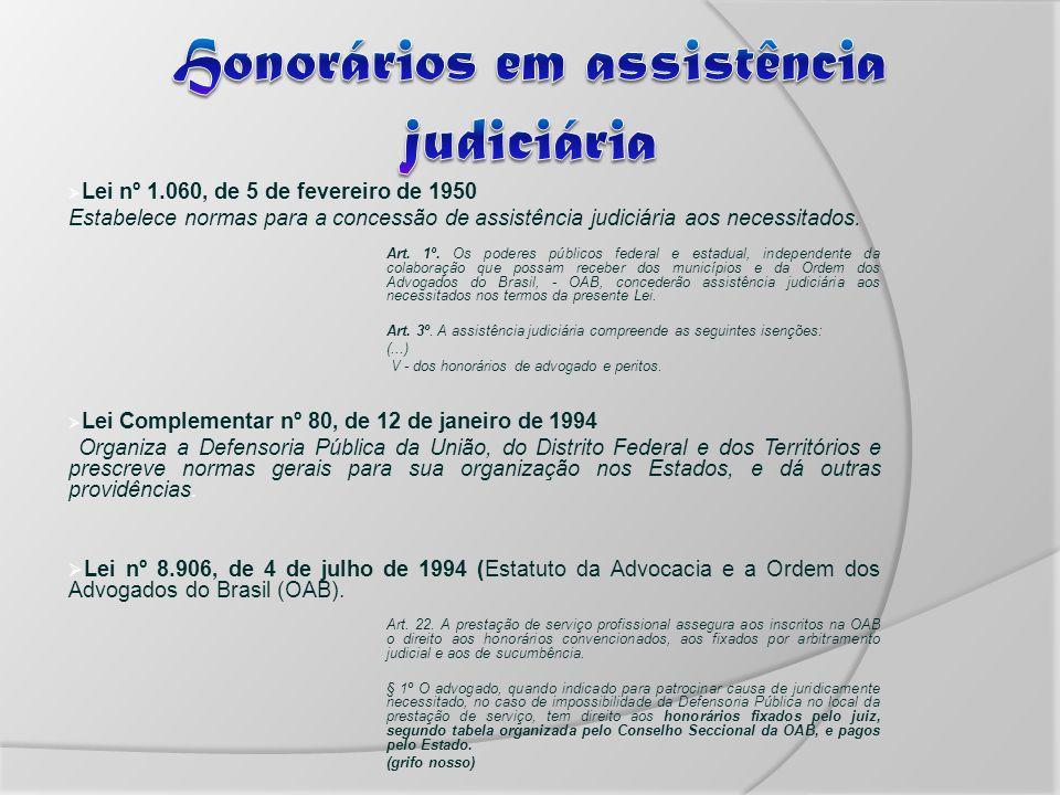 Lei nº 1.060, de 5 de fevereiro de 1950 Estabelece normas para a concessão de assistência judiciária aos necessitados.
