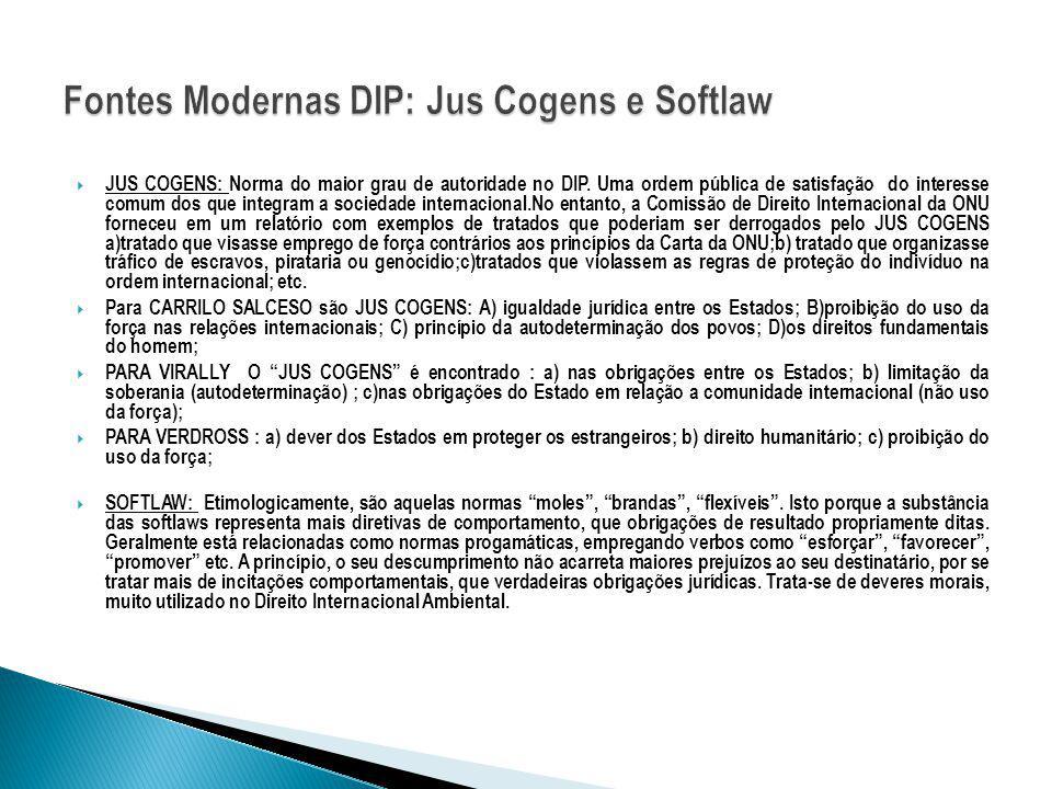 JUS COGENS: Norma do maior grau de autoridade no DIP. Uma ordem pública de satisfação do interesse comum dos que integram a sociedade internacional.No