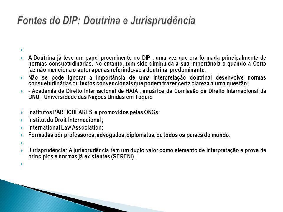 A Doutrina já teve um papel proeminente no DIP, uma vez que era formada principalmente de normas consuetudinárias. No entanto, tem sido diminuída a su