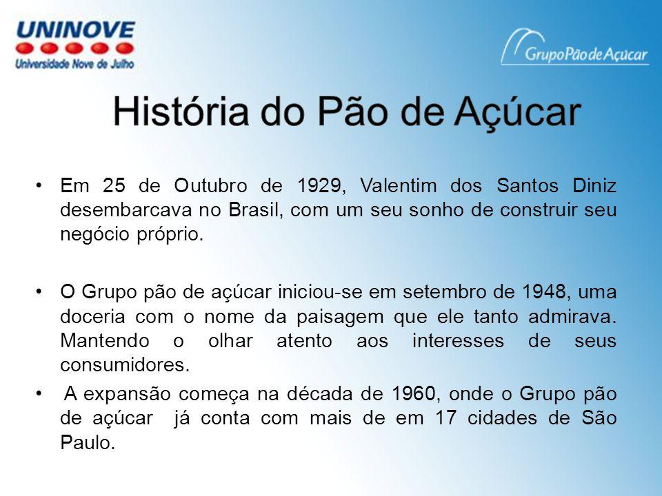 Em 25 de Outubro de 1929, Valentim dos Santos Diniz desembarcava no Brasil, com um seu sonho de construir seu negócio próprio.