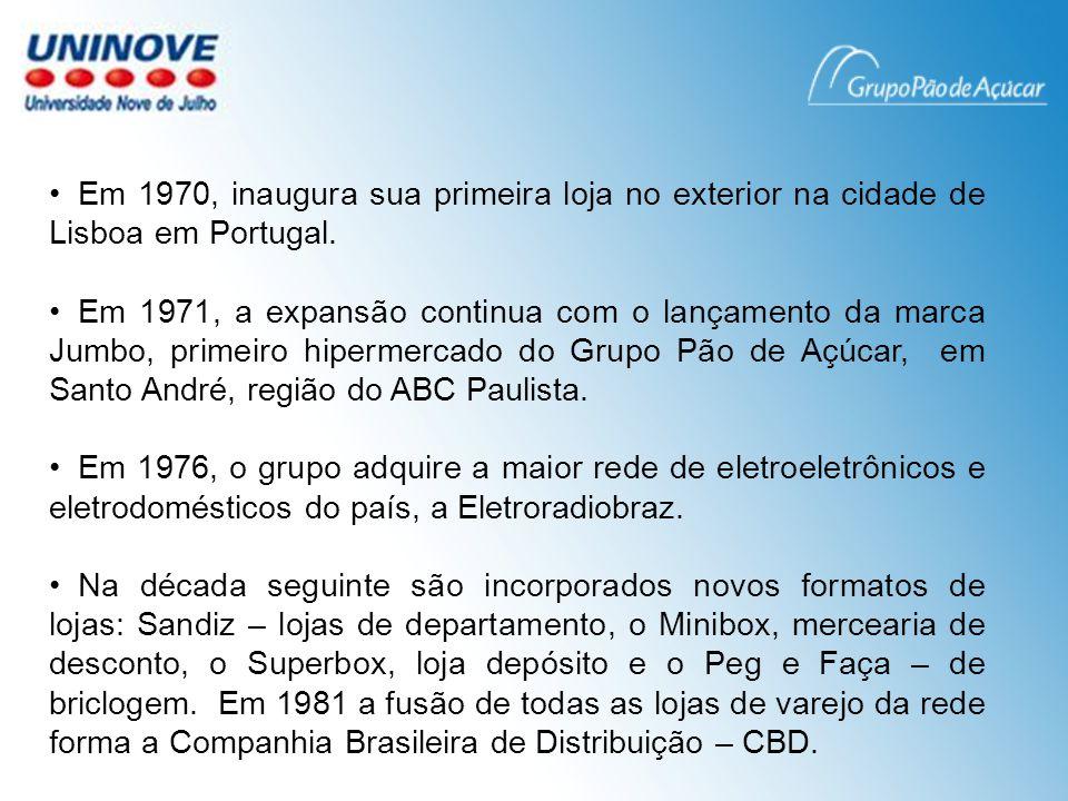 Ao final da década de 1980 o Grupo inaugura uma nova geração de hipermercados, o Extra que, com o fechamento das lojas Jumbo torna-se o único hipermercado da rede.