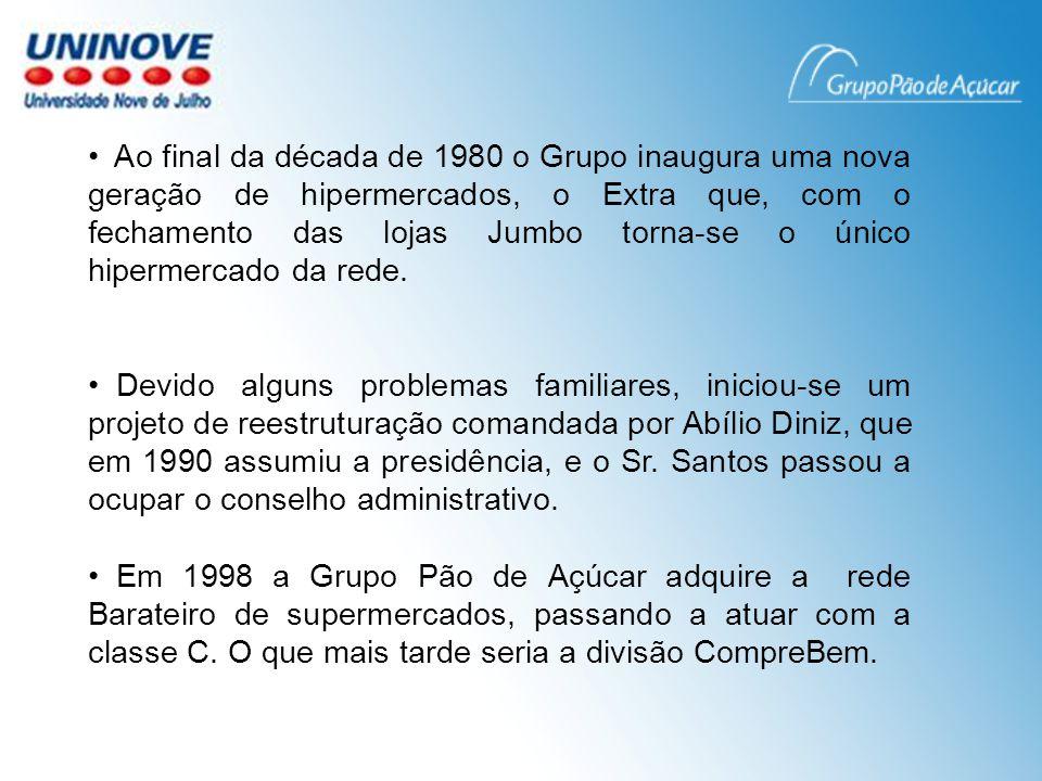 Em 2003 houve um grande avanço no processo de profissionalização no Grupo, foi a eleição do primeiro presidente não pertencente a família Diniz, Cássio Casseb.