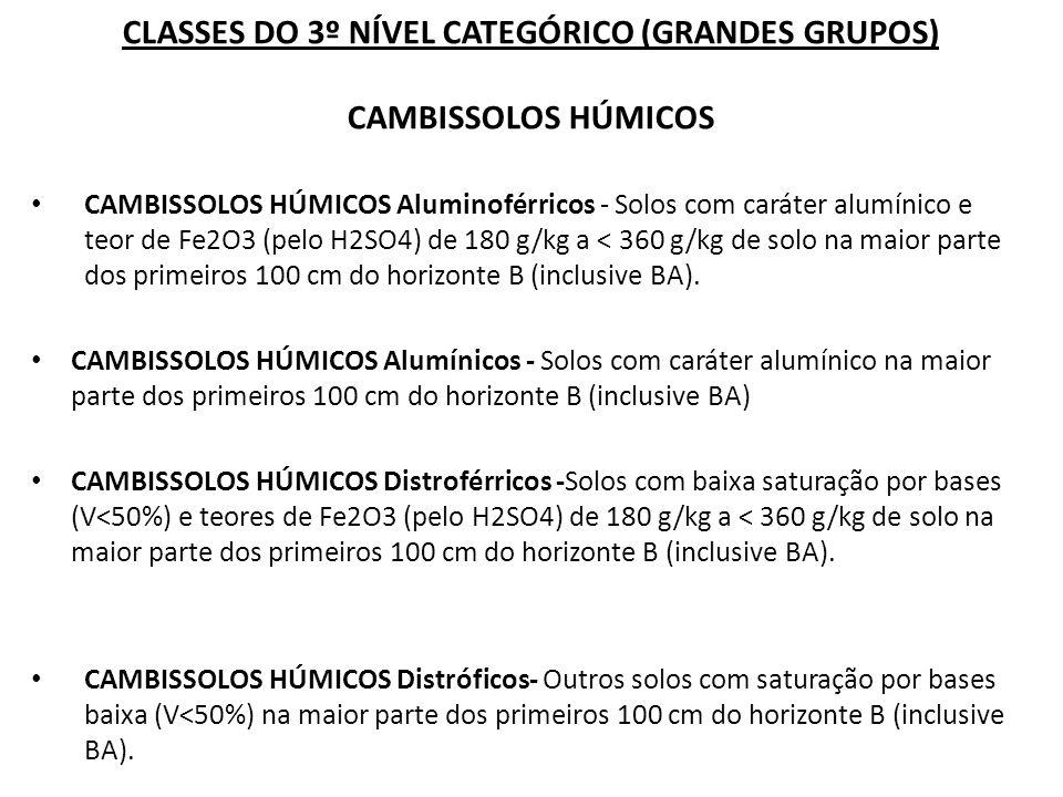 CLASSES DO 3º NÍVEL CATEGÓRICO (GRANDES GRUPOS) CAMBISSOLOS HÚMICOS CAMBISSOLOS HÚMICOS Aluminoférricos - Solos com caráter alumínico e teor de Fe2O3