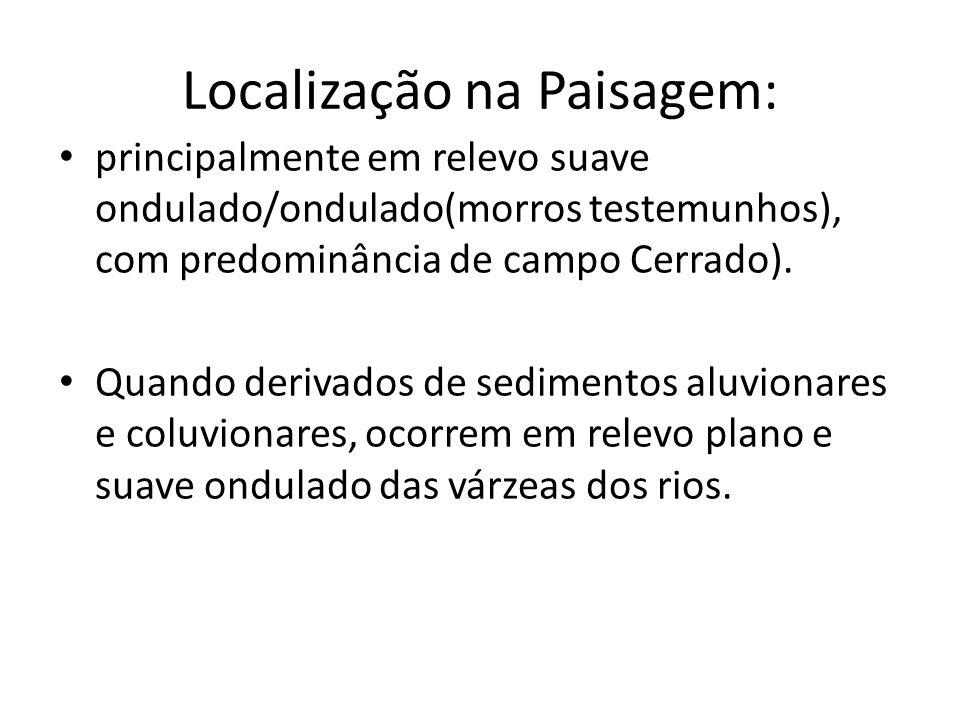 Localização na Paisagem: principalmente em relevo suave ondulado/ondulado(morros testemunhos), com predominância de campo Cerrado). Quando derivados d