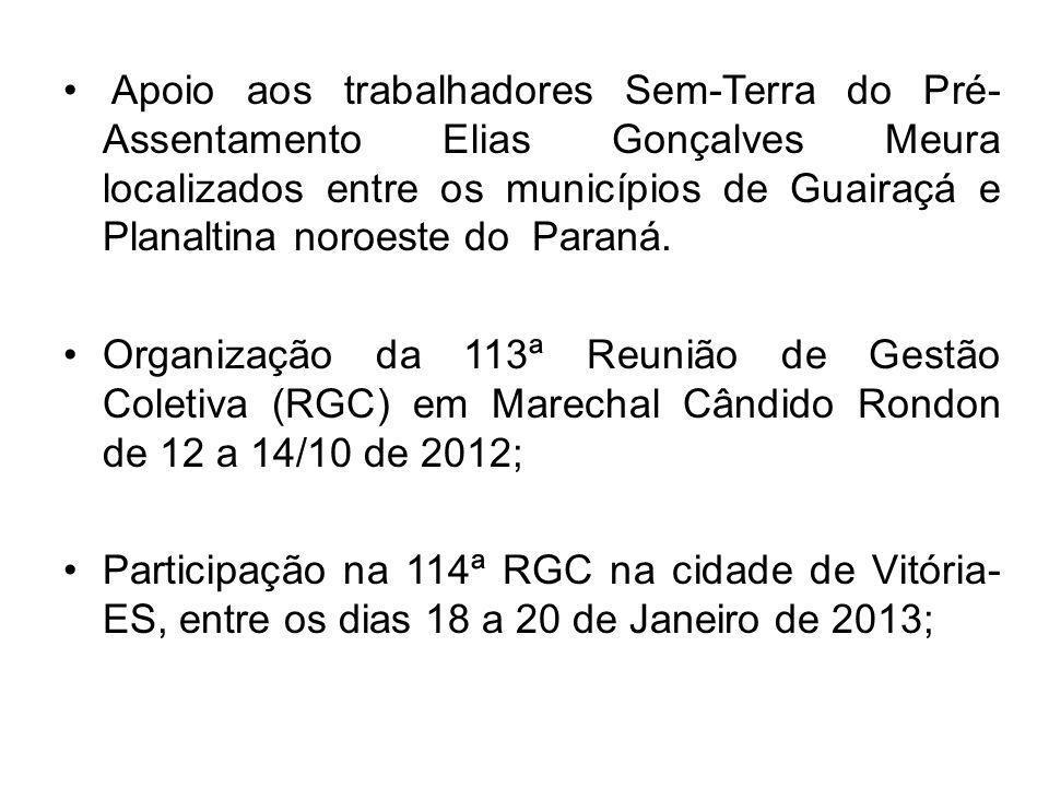 Apoio aos trabalhadores Sem-Terra do Pré- Assentamento Elias Gonçalves Meura localizados entre os municípios de Guairaçá e Planaltina noroeste do Para