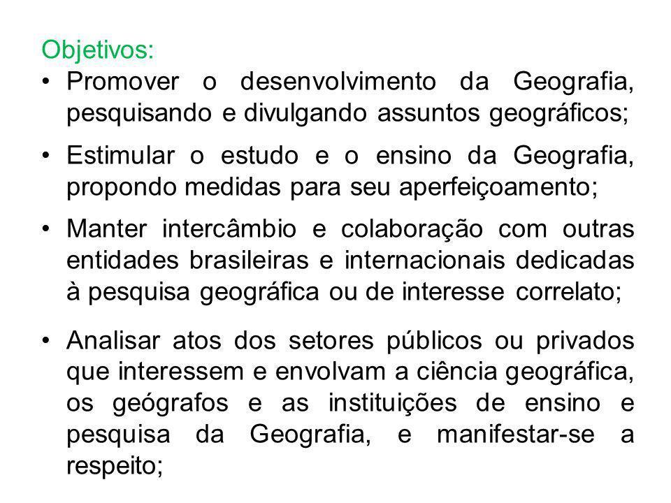 Objetivos: Promover o desenvolvimento da Geografia, pesquisando e divulgando assuntos geográficos; Estimular o estudo e o ensino da Geografia, propond
