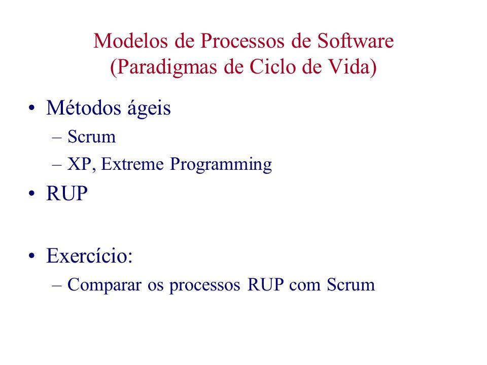 Modelos de Processos de Software (Paradigmas de Ciclo de Vida) Métodos ágeis –Scrum –XP, Extreme Programming RUP Exercício: –Comparar os processos RUP