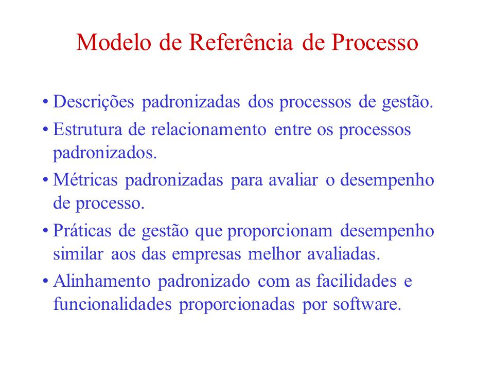 Modelo de Referência de Processo Descrições padronizadas dos processos de gestão. Estrutura de relacionamento entre os processos padronizados. Métrica