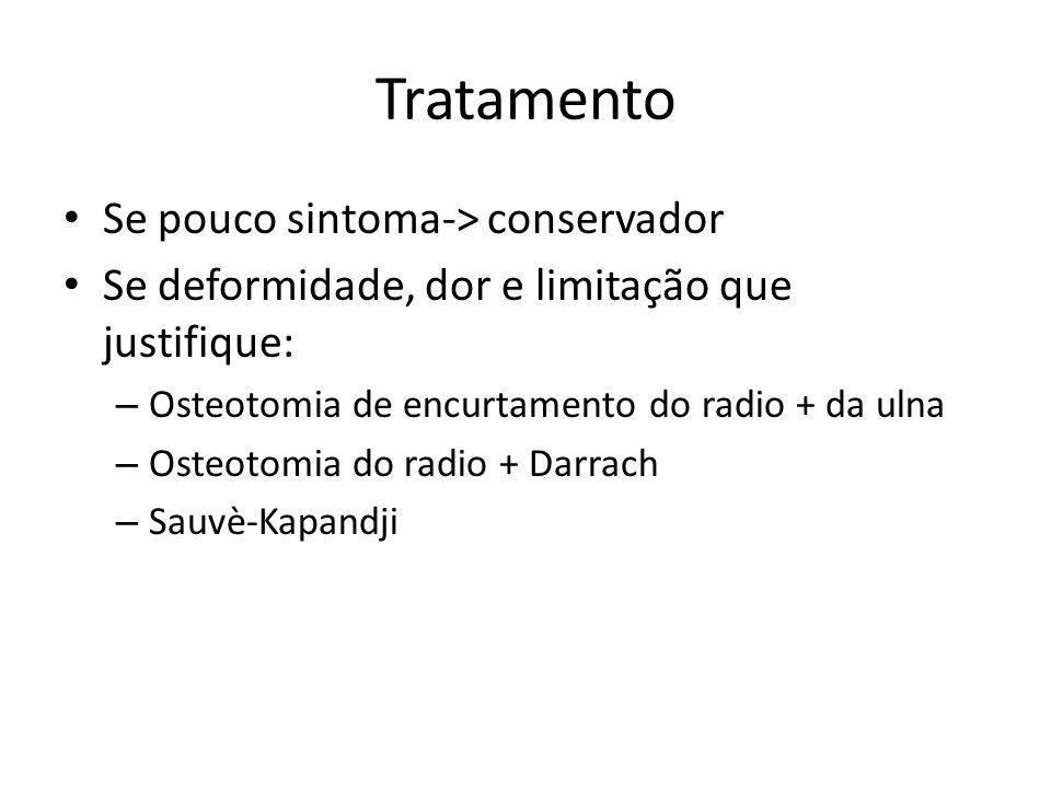 Tratamento Se pouco sintoma-> conservador Se deformidade, dor e limitação que justifique: – Osteotomia de encurtamento do radio + da ulna – Osteotomia