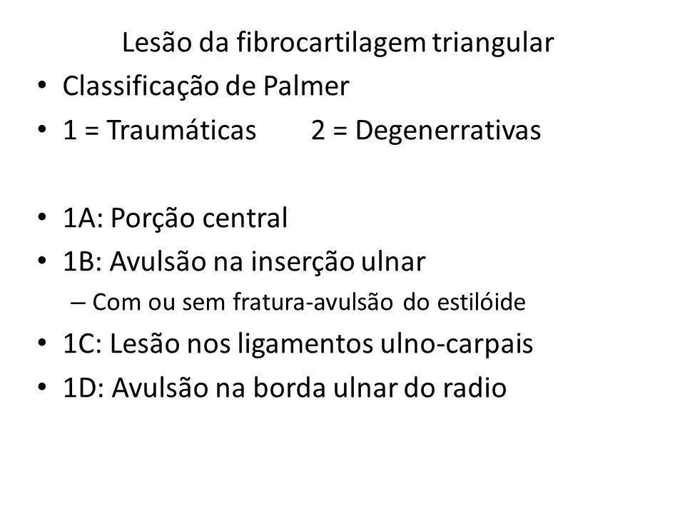 Lesão da fibrocartilagem triangular Classificação de Palmer 1 = Traumáticas2 = Degenerrativas 1A: Porção central 1B: Avulsão na inserção ulnar – Com o