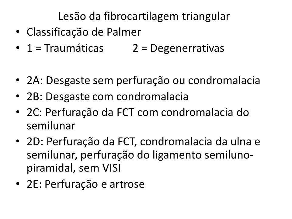 Lesão da fibrocartilagem triangular Classificação de Palmer 1 = Traumáticas2 = Degenerrativas 2A: Desgaste sem perfuração ou condromalacia 2B: Desgast
