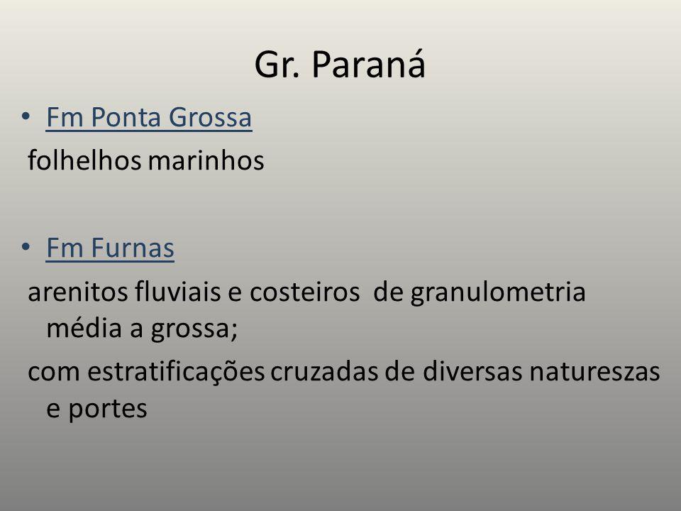 Gr. Paraná Fm Ponta Grossa folhelhos marinhos Fm Furnas arenitos fluviais e costeiros de granulometria média a grossa; com estratificações cruzadas de