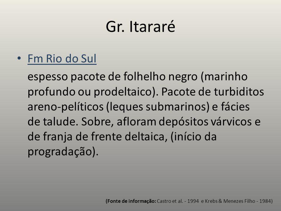 Fm Rio do Sul espesso pacote de folhelho negro (marinho profundo ou prodeltaico). Pacote de turbiditos areno-pelíticos (leques submarinos) e fácies de