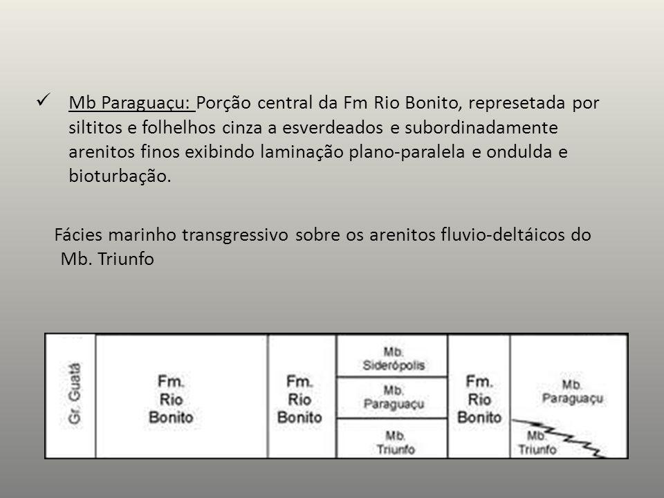 Mb Paraguaçu: Porção central da Fm Rio Bonito, represetada por siltitos e folhelhos cinza a esverdeados e subordinadamente arenitos finos exibindo lam
