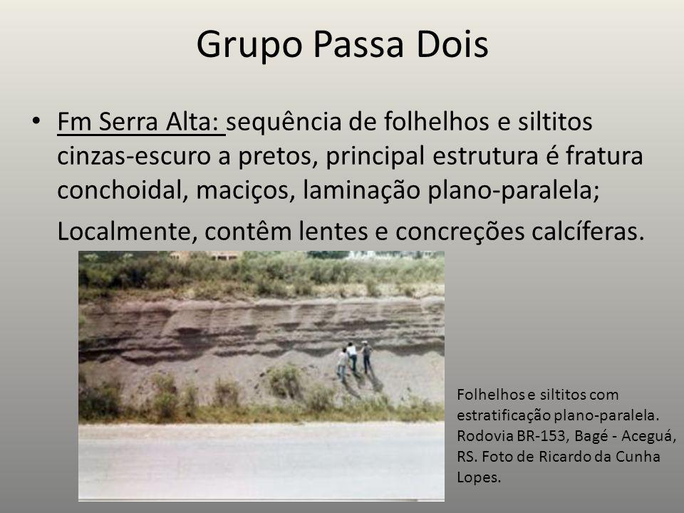 Grupo Passa Dois Fm Serra Alta: sequência de folhelhos e siltitos cinzas-escuro a pretos, principal estrutura é fratura conchoidal, maciços, laminação plano-paralela; Localmente, contêm lentes e concreções calcíferas.