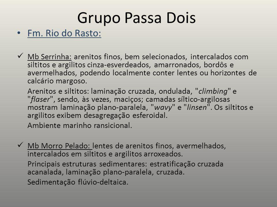 Grupo Passa Dois Fm. Rio do Rasto: Mb Serrinha: arenitos finos, bem selecionados, intercalados com siltitos e argilitos cinza-esverdeados, amarronados