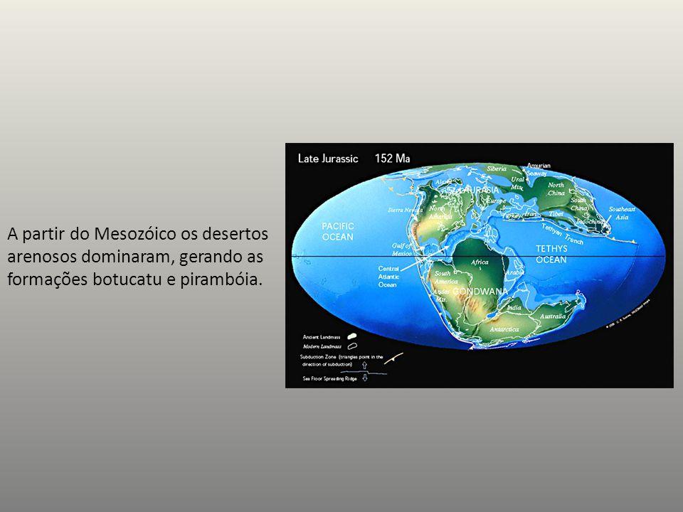 A partir do Mesozóico os desertos arenosos dominaram, gerando as formações botucatu e pirambóia.
