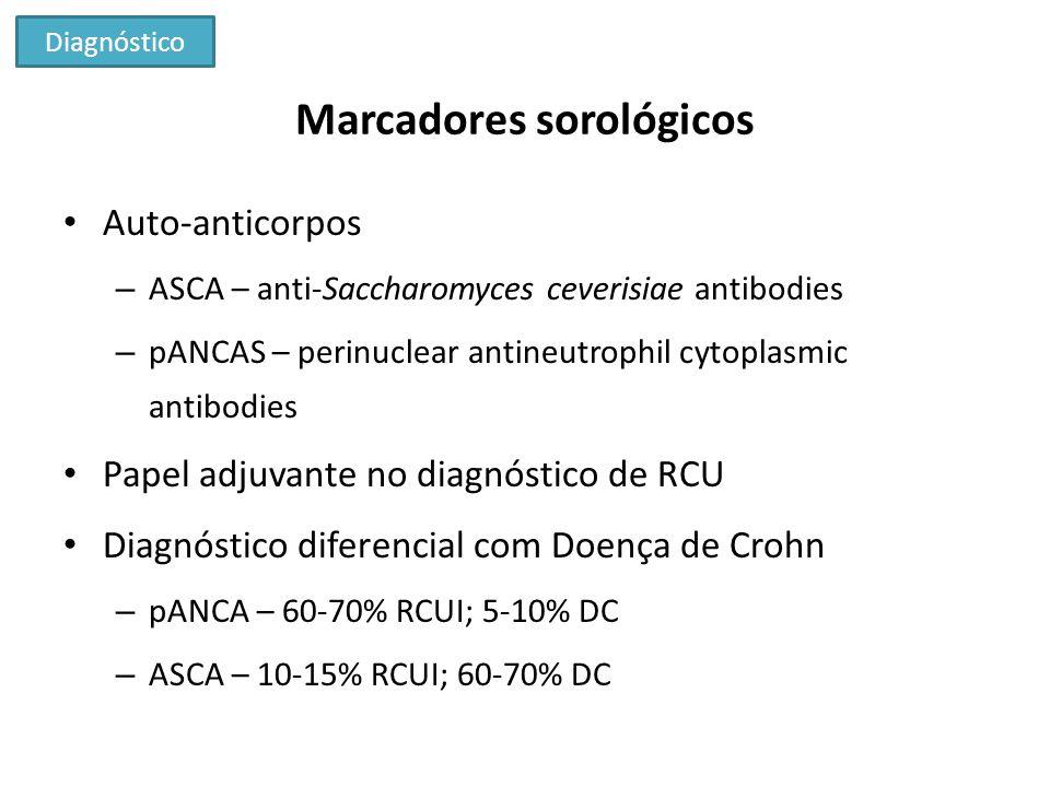 Marcadores sorológicos Auto-anticorpos – ASCA – anti-Saccharomyces ceverisiae antibodies – pANCAS – perinuclear antineutrophil cytoplasmic antibodies