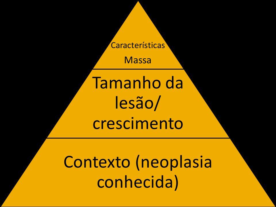 Características Massa Tamanho da lesão/ crescimento Contexto (neoplasia conhecida)