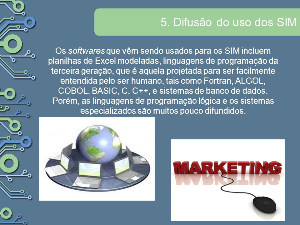 5. Difusão do uso dos SIM Os softwares que vêm sendo usados para os SIM incluem planilhas de Excel modeladas, linguagens de programação da terceira ge