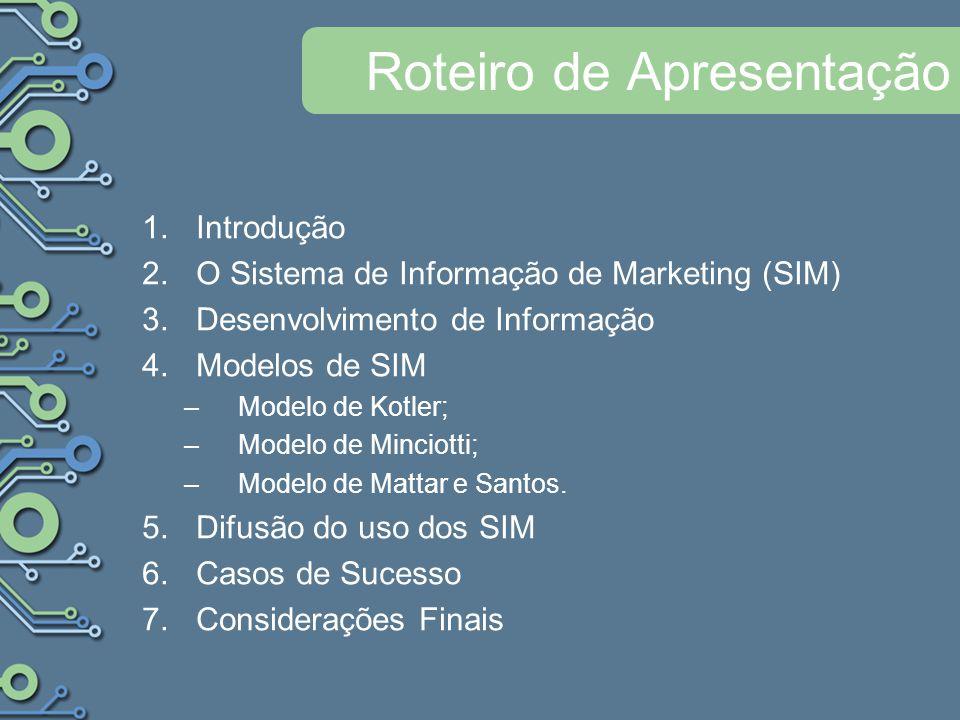 Roteiro de Apresentação 1.Introdução 2.O Sistema de Informação de Marketing (SIM) 3.Desenvolvimento de Informação 4.Modelos de SIM –Modelo de Kotler; –Modelo de Minciotti; –Modelo de Mattar e Santos.