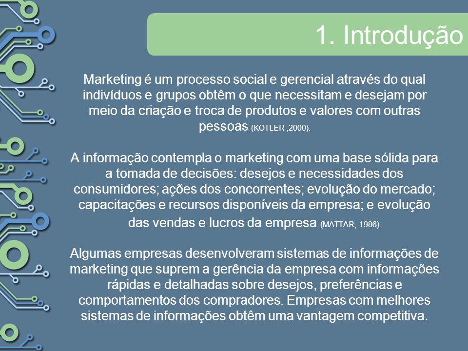 1. Introdução Marketing é um processo social e gerencial através do qual indivíduos e grupos obtêm o que necessitam e desejam por meio da criação e tr