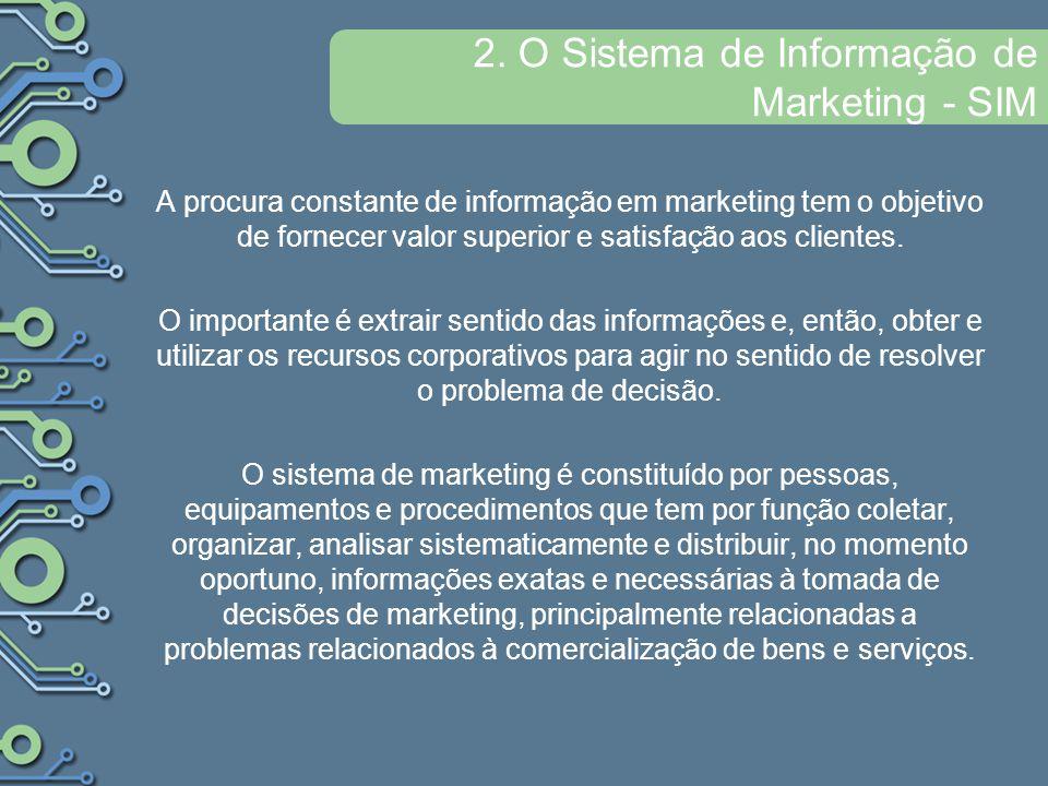 2. O Sistema de Informação de Marketing - SIM A procura constante de informação em marketing tem o objetivo de fornecer valor superior e satisfação ao