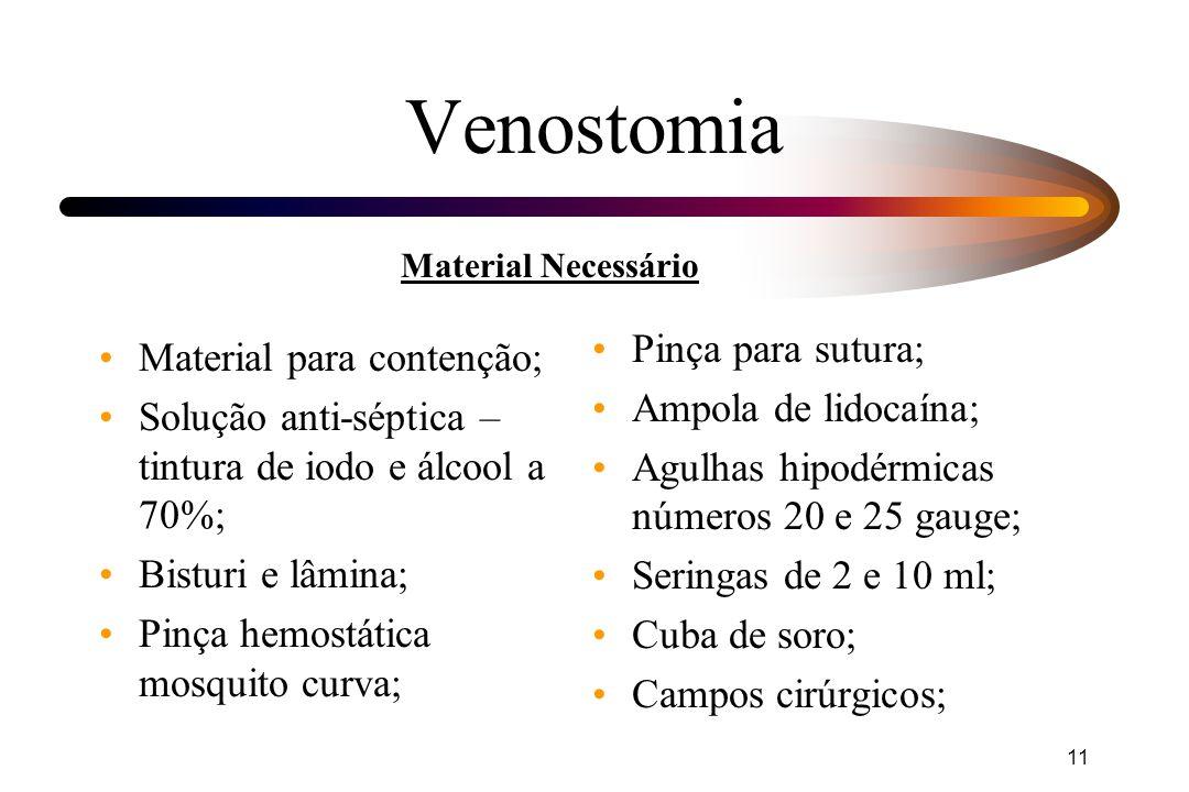 11 Venostomia Material para contenção; Solução anti-séptica – tintura de iodo e álcool a 70%; Bisturi e lâmina; Pinça hemostática mosquito curva; Pinç