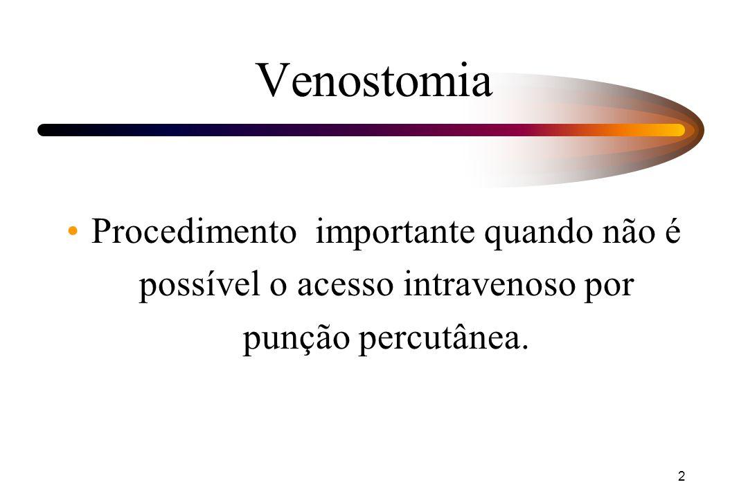 2 Procedimento importante quando não é possível o acesso intravenoso por punção percutânea.