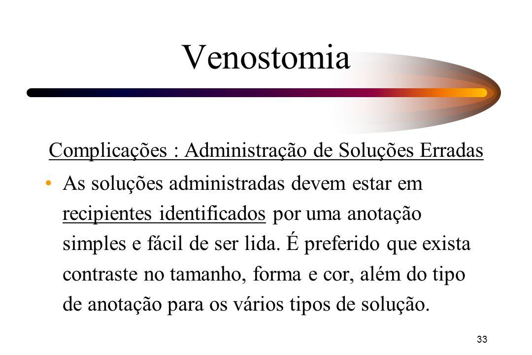 33 Venostomia Complicações : Administração de Soluções Erradas As soluções administradas devem estar em recipientes identificados por uma anotação sim