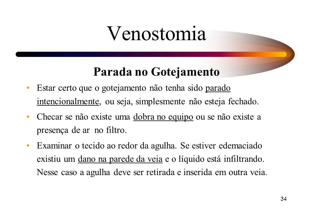 34 Venostomia Parada no Gotejamento Estar certo que o gotejamento não tenha sido parado intencionalmente, ou seja, simplesmente não esteja fechado. Ch