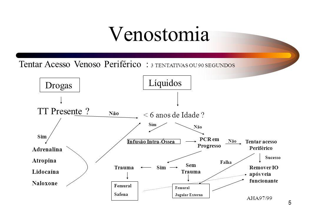 5 Venostomia Tentar Acesso Venoso Periférico : 3 TENTATIVAS OU 90 SEGUNDOS Drogas Líquidos TT Presente ? Adrenalina Atropina Lidocaína Naloxone Sim <